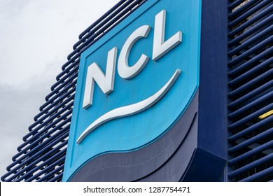 Vancouver, Canada - September 25, 2017: Norwegian Cruise Line (NCL) logo/sign/emblem on Norwegian Star Cruise Ship