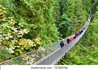 Vancouver, Canada - September 25,2017: Visitors exploring the Capilano Suspension Bridge park in North Vancouver, Capilano Suspension Bridge is 460 feet long and 230 metres above the river.