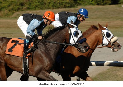 VANCOUVER, CANADA - SEPTEMBER 9, 2014: Horses ridden by jockeys compete at Hastings Park in Vancouver, Canada, on September 9, 2014.