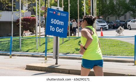 Vancouver, Canada,May 7,2017.Vancouver Marathon around the Vancouver city,Canada