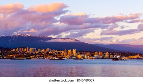 Vancouver city by night, British Columbia, Canada. Photographed from the Stanley Park.