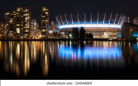 Vancouver - city downtown panorama with Yaletown and BC Place Stadium at the night lights