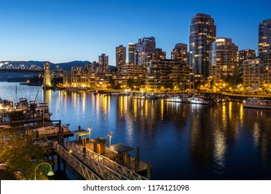 Vancouver city at dusk, British Columbia, Canada.