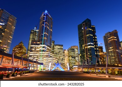 Vancouver city financial district at night, Vancouver, British Columbia, Canada.