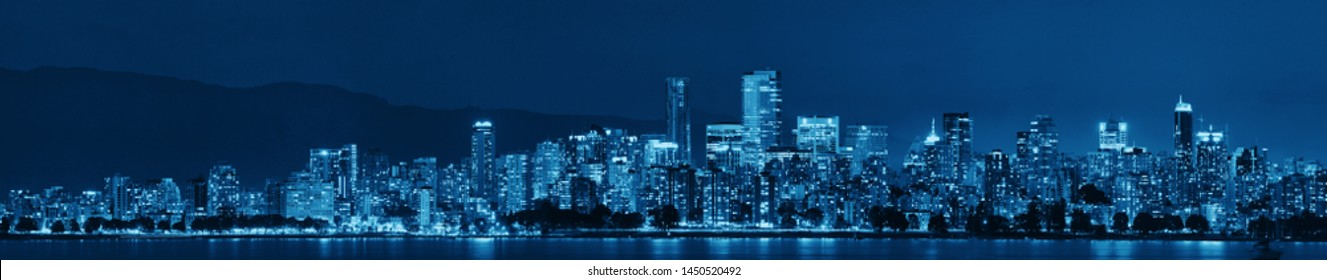 Vancouver city skyline at night.