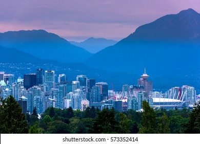 Vancouver city skyline at night, British Columbia, Canada