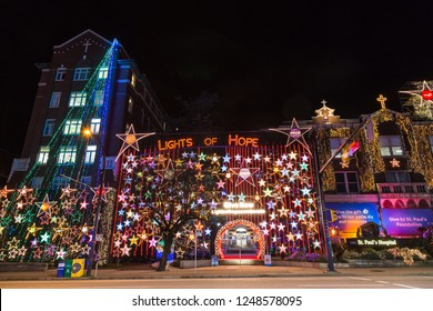 VANCOUVER DECEMBER 2018: Christmas decoration at St. Paul Hospital in downtown Vancouver, British Columbia, Canada