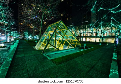 VANCOUVER DECEMBER 2018: Christmas decoration at Vancouver Wall Centre in downtown Vancouver, British Columbia, Canada