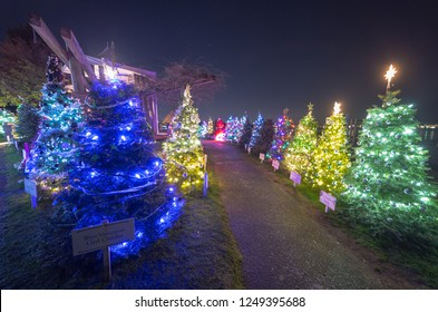 VANCOUVER DECEMBER 2018: Christmas lights decoration at the Dundarave Festival of Lights in West Vancouver, British Columbia, Canada