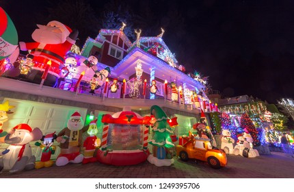 VANCOUVER DECEMBER 2018: Christmas lights decoration at the Chalet Place Lights for Charity in West Vancouver, British Columbia, Canada