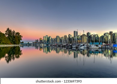 Vancouver Downtown Skyline at dusk from Stanley Park, Canada.