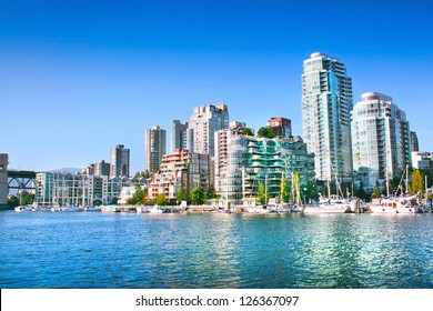 Vancouver downtown skyline at False Creek, British Columbia, Canada