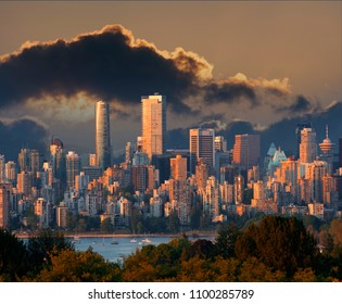 Vancouver at the dusk with dark clouds