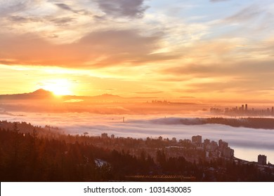 Vancouver Foggy Sunrise, viewed from Cypress Mountain lookout point