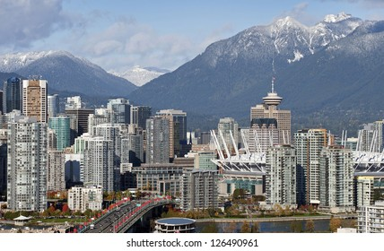 Vancouver - Grouse Mountains, Cambie Bridge, BC Place Stadium and downtown
