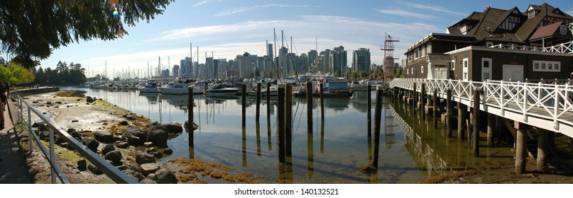 Vancouver harbor with boats.
