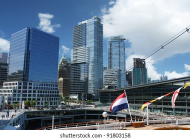 Vancouver Harbor, Canada, showing ship and buildings in the background