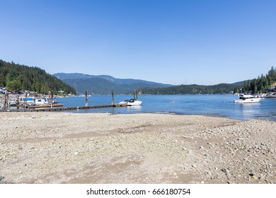 Vancouver harbour, Deep Cove area with boats on a sunny day.