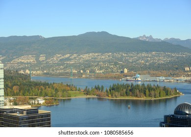 Vancouver Harbour, Stanley Park and Mount Fromme, photo taken from the Harbour Centre tower, Vancouver, British Columbia, Canada.