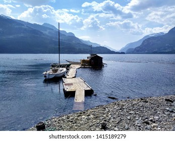 Vancouver Island, British Columbia, Canada - May 27, 2019: Dock at Strathcona Park Lodge on Upper Campbell Lake