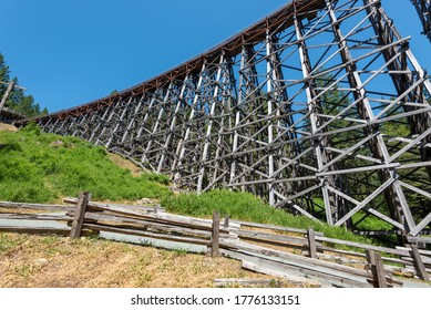 Vancouver Island, Canada - 06/21/2019: Kinsol trestle also known as the Koksilah River Trestle, is a wooden railway trestle