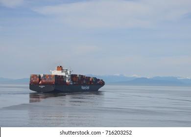 VANCOUVER ISLAND, CANADA - MAY 1, 2014: Hapag Lloyd Cargo ship near Vancouver, Canada