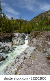 Vancouver island Canada a waterfall near the road on a sunny day in May