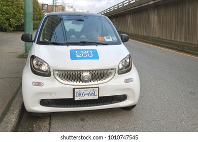 VANCOUVER - January 26, 2018: Car2go, a car sharing enterprise, allows members to use cars that are parked on city streets for a fee. A typical car in Vancouver, Canada on January 26, 2018.