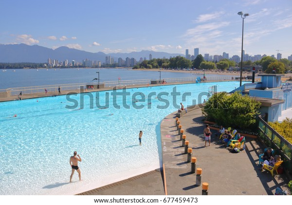 VANCOUVER - July 14,2017: The Kitsilano outdoor swimming pool provides summer long activities for all ages seen here in Vancouver, British Columbia on July 14, 2017.
