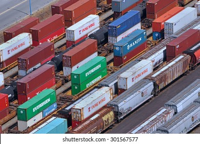 VANCOUVER - JULY 2015:   Vancouver is Canada's busiest port for importing goods from Asia in containers and shipping them across the continent by rail as seen in Vancouver in July 2015.