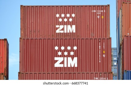 VANCOUVER - June 16,2017: A container owned by ZIM Integrated Shipping, one of the largest global container shipping businesses seen in Vancouver, British Columbia on June 16, 2017.
