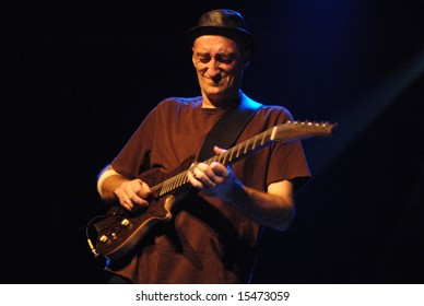 "VANCOUVER - JUNE 25, 2008: Miroslav Tadic, guitarist of ""The Grande Mothers"" band, performs during band's concert in Vancouver"