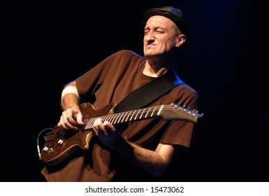 """VANCOUVER - JUNE 25, 2008: Miroslav Tadic, guitarist of """"The Grande Mothers"""" band, performs during band's concert in Vancouver"""