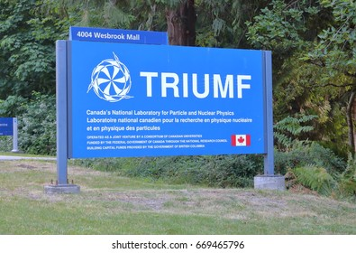 VANCOUVER - June 28,2017: The entrance to TRIUMF, a laboratory for particle and nuclear physics and accelerator-based science at the University of BC in Vancouver on June 28, 2017.