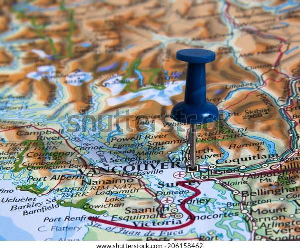 Vancouver  in the map with pin