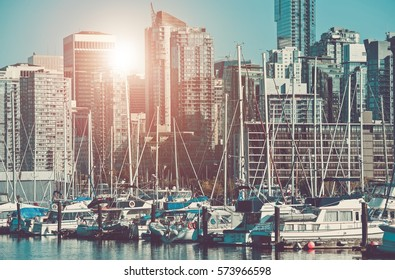 Vancouver Marina and the Cityscape. City of Vancouver, Canada.