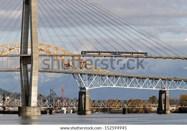 Vancouver, New Westminster - SkyTrain bridge above Fraser River
