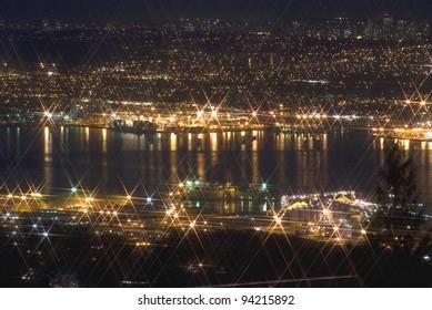 Vancouver at night, British Columbia, Canada