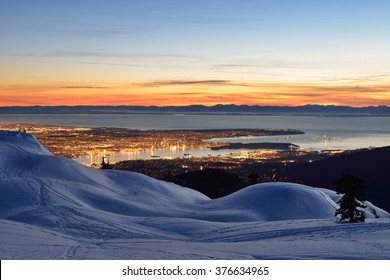 Vancouver night cityscape viewed from Mount Seymour First Peak