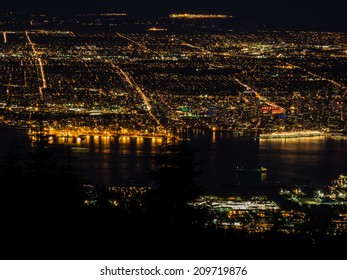 Vancouver night view from the top of Grouse Mountain