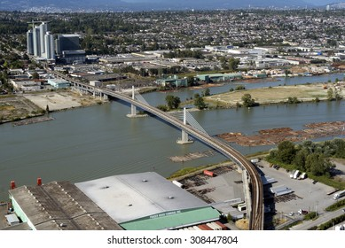 VANCOUVER, NORTH ARM BRIDGE - JULY 29, 2015: New bridge connecting Vancouver and Richmond open in 2009 has two tracks enabling SkyTrains to pass each other between Bridgeport and Marine Drive Stations