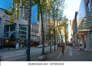 VANCOUVER - NOV 13, 2014: Modern buildings on Granville Street between Dunsmuir Street and Pender Street in Vancouver, British Columbia, Canada.