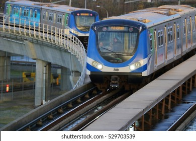 VANCOUVER - NOVEMBER 30, 2016: Commuters on the Canada Line, a public transit system in Vancouver on November 30, 2016.