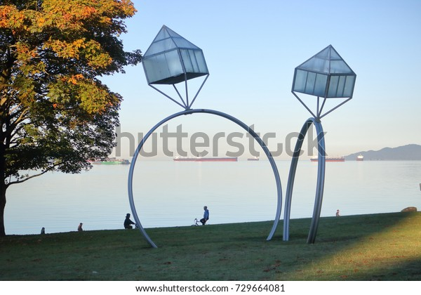 VANCOUVER - October 5, 2017:  Engagement is a series of sculptures by Dennis Oppenheim depicting diamond engagement rings at Sunset Beach in Vancouver, BC, Canada on October 5, 2017.