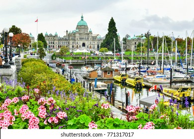 VANCOUVER - OCTOBER 7,2017 :View of Victoria Inner Harbour and British Columbia Provincial Parliament Building