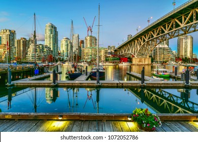 Vancouver - September 7, 2017:Beautiful view of Vancouver BC next to Granville Bridge along False Creek at twilight time.