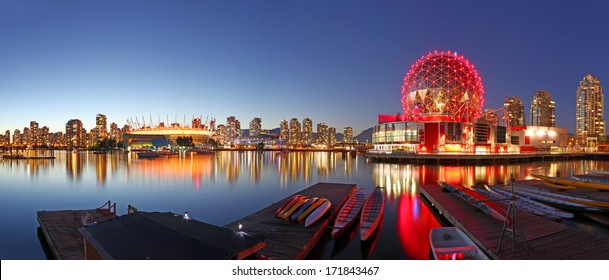 VANCOUVER - SEPTEMBER 9: Science World and BC Place Stadium in Vancouver, Canada on September 9, 2013. Vancouver has been ranked the third most liveable city in the world for the second year in a row.