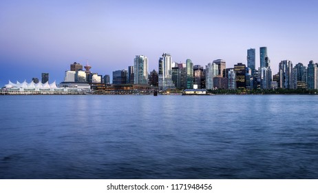 Vancouver skyline at dusk in Vancouver, British Columbia, Canada.