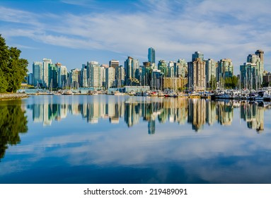 Vancouver skyline with harbor, British Columbia, Canada