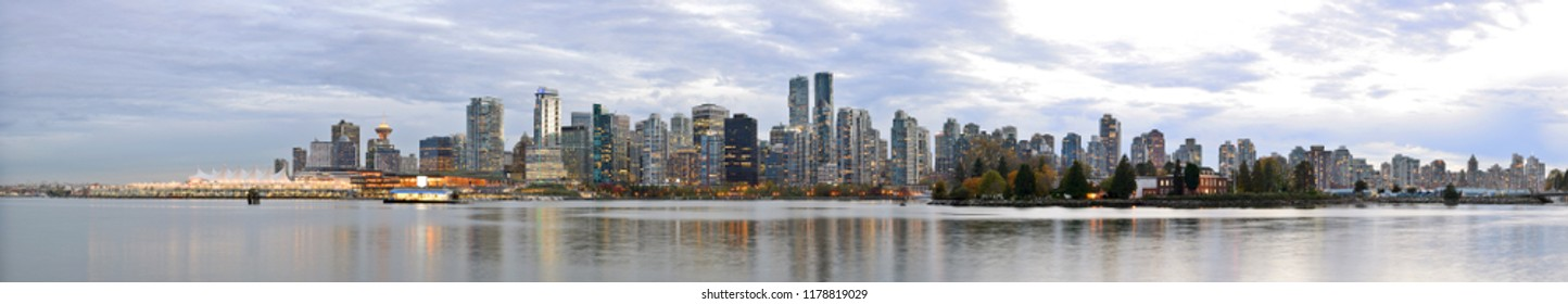 Vancouver Skyline Panorama at Sunset, B.C, CANADA